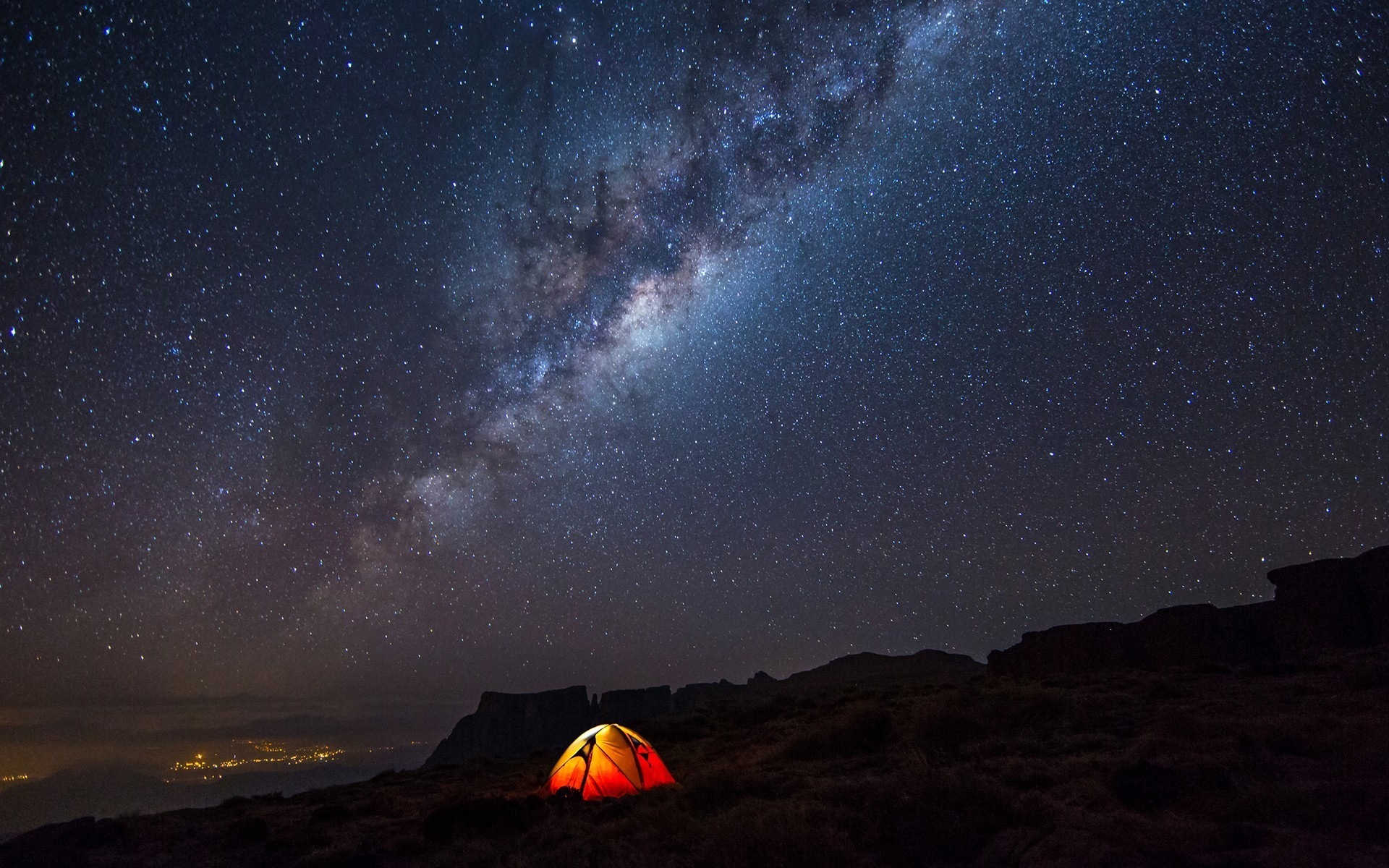 Star Party under the galactic center of Milky way