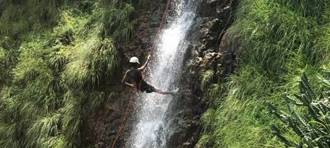 The thrill of Waterfall rappelling